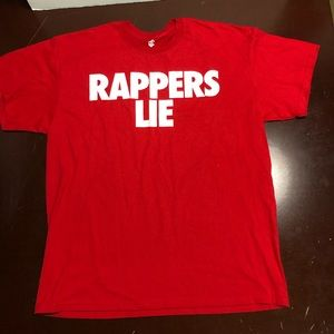Red rocawear rappers lie numbers don't T-shirt